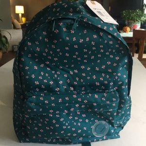 Roxy Canvas Backpack Green Flowers Laptop Pouch